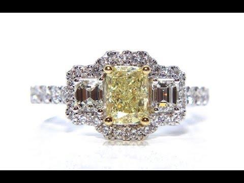 18CT YELLOW & WHITE DIAMOND ENGAGEMENT RING 1.69CT