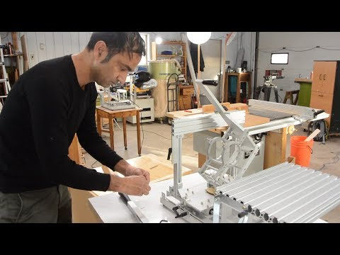"""Kuldeep assembles the metal """"hybrid"""" Pantorouter, and cutting a joint"""