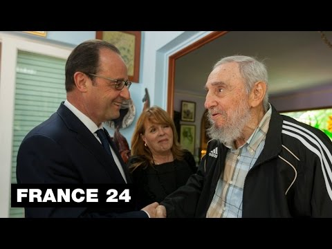 French president Hollande meets with Fidel Castro during historic visit to Cuba
