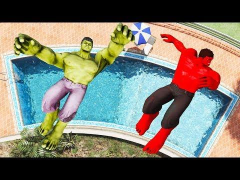 GTA 5 Green Hulk Vs Red Hulk Ragdolls