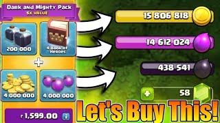 Let's Buy This Rs.1600 Dark And Mighty Pack In Clash Of Clans | End Of Summer Offer!