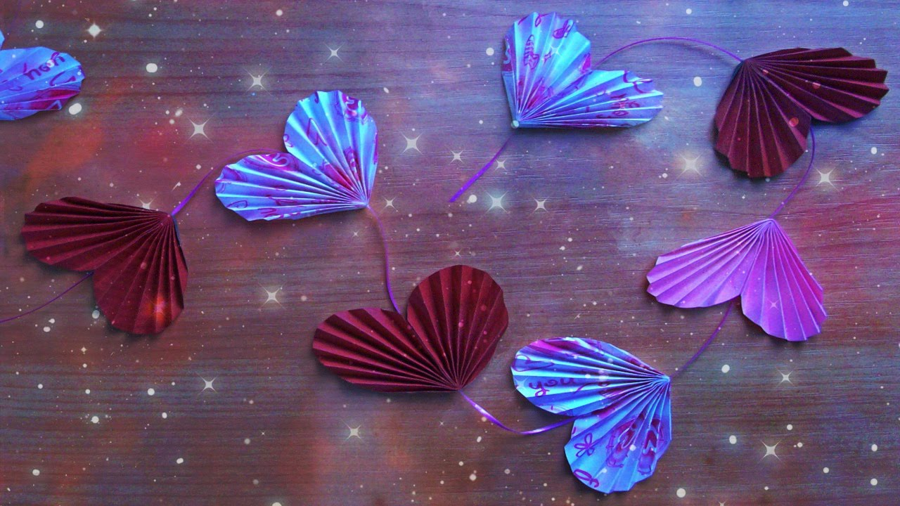 DIY Easy Valentine Heart Garland Flowers Cute Handmade Paper Crafts Origami Decoration
