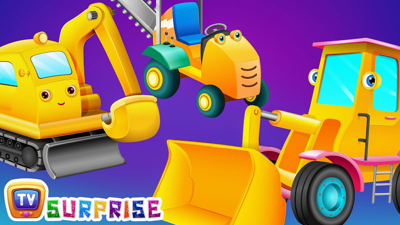 Surprise Eggs Toys - Construction Vehicles for Kids | Bull Dozer, Road Roller & more | ChuChuTV