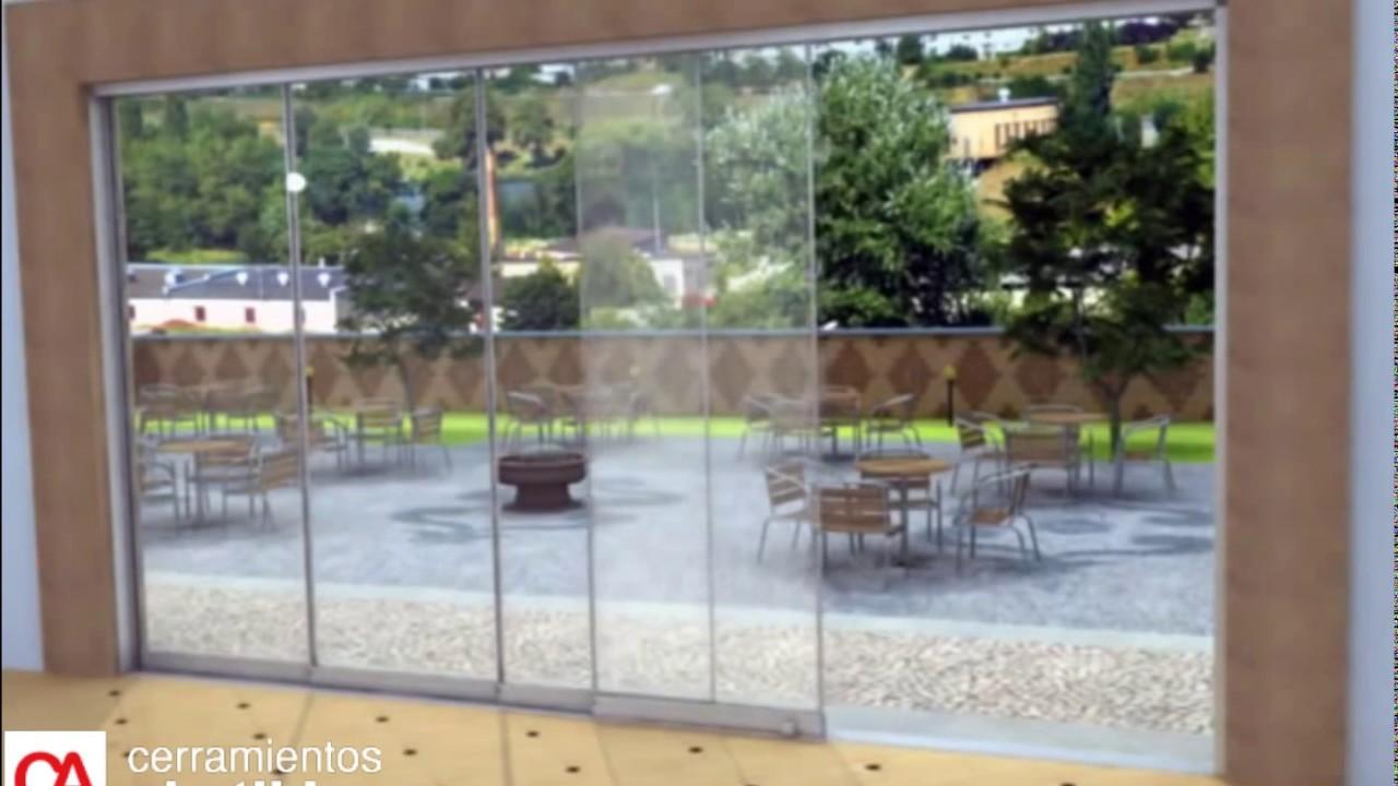 Cortina de cristal corredera sin perfiles youtube for Cortina cristal terraza