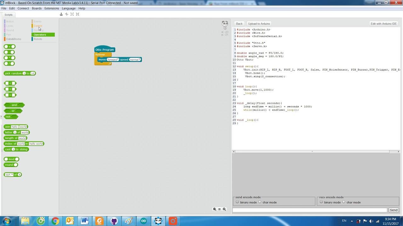OttoDIY Programming Scratch in mBlock
