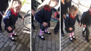 Cerebral Palsy Girl Walks Unaided For First Time As She Start School