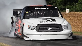 NASCAR Toyota Tundra Trucks Ripping Up Goodwood Hillclimb!!