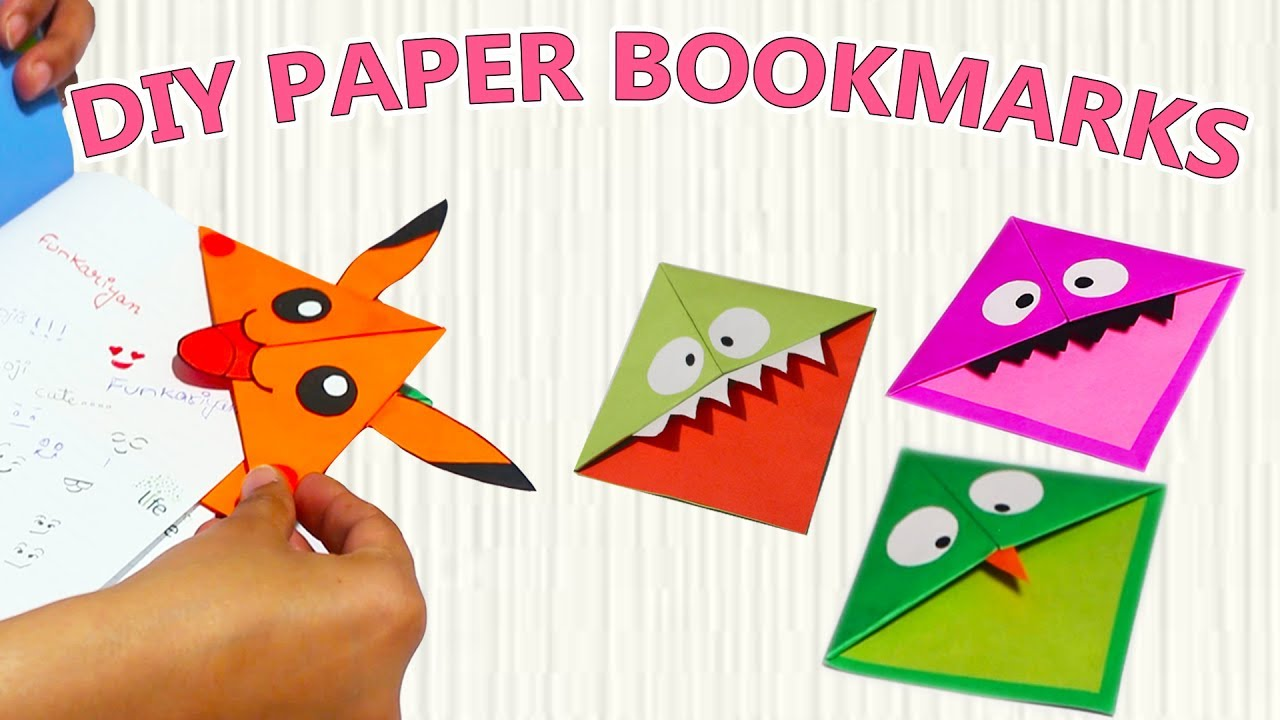 Diy Easy Kawaii Bookmarks With Origami Papers Monster