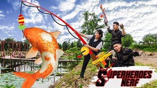 Superheroes Nerf: Police SEAL X Warriors Nerf Gun Fight Criminal Group Go Fishing Battle War