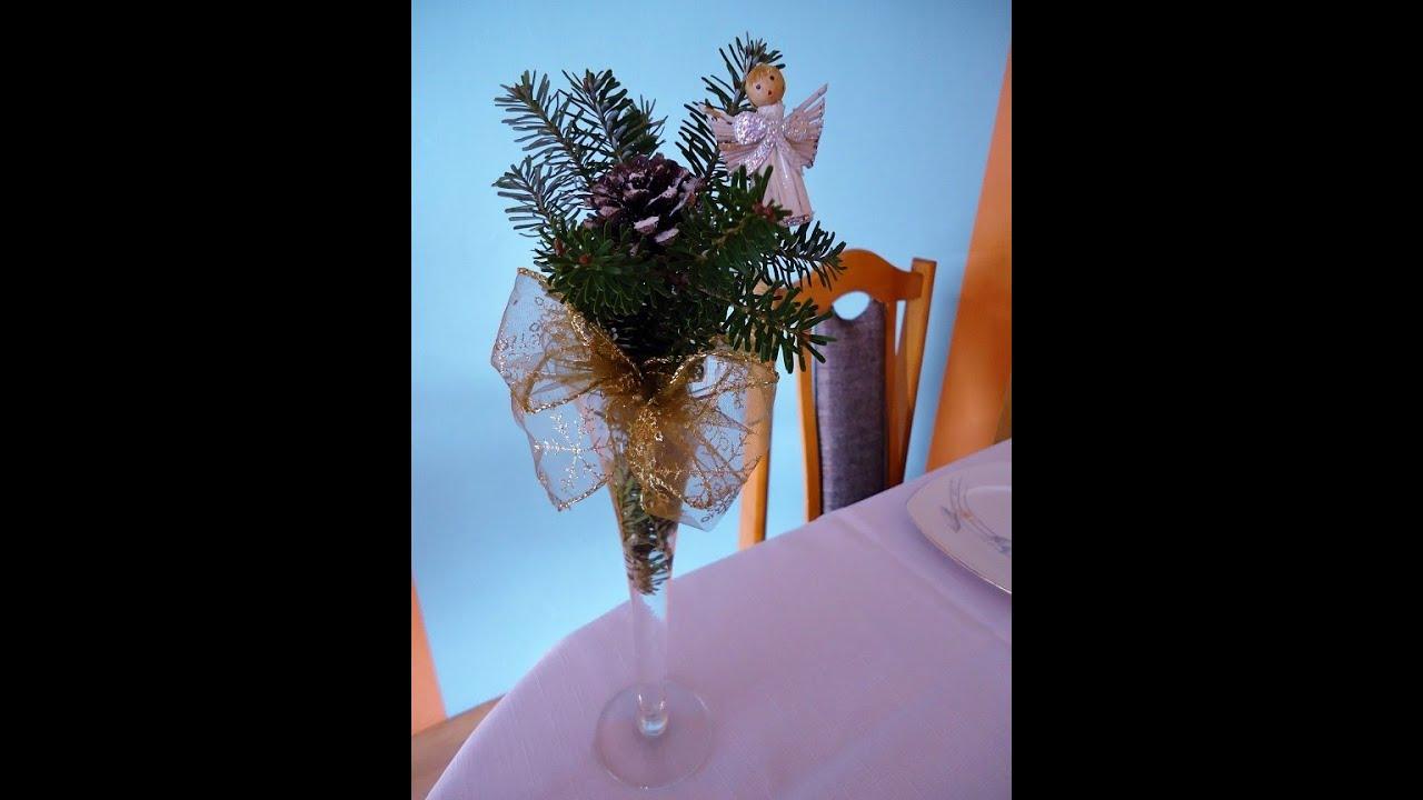 Stroik Na Boże Narodzenie W Kielichu Szampance