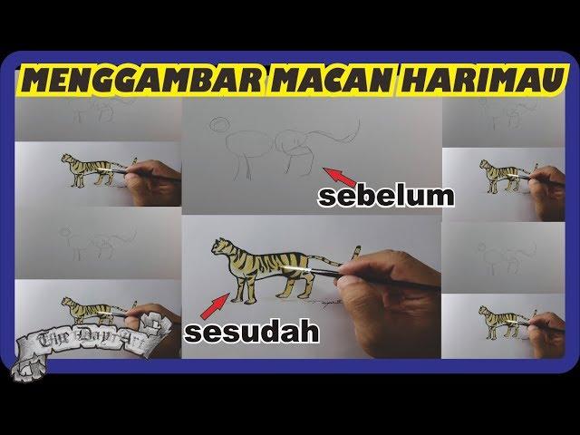 Menggambar macan menggunakan pensil dan drawing pen dengan mudah #1