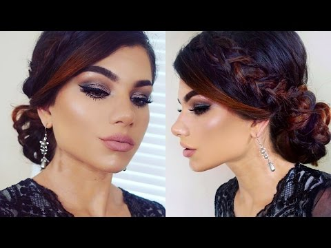 dramatic-prom-makeup-tutorial!-elegant-braid-bun-updo!