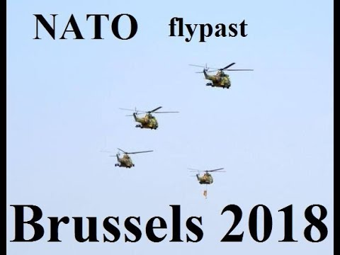 HELICOPTERS FLYPAST AT NATO SUMMIT IN BRUSSELS