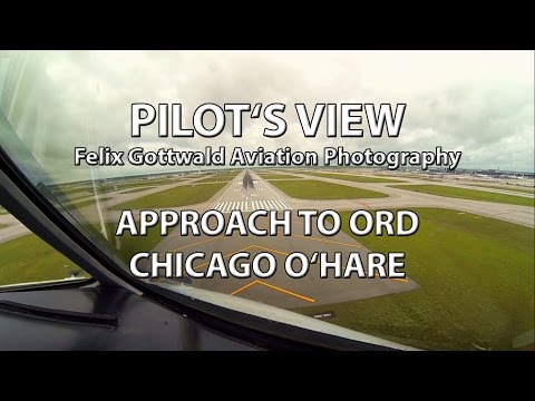 Pilot's view - approach to Chicago O'Hare ORD from Lufthansa Cargo MD-11 cockpit