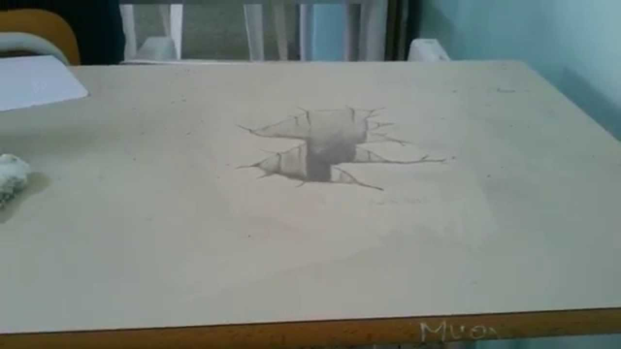 Drawing 3d hole disegno 3d matita cratere youtube for Disegno 3d free