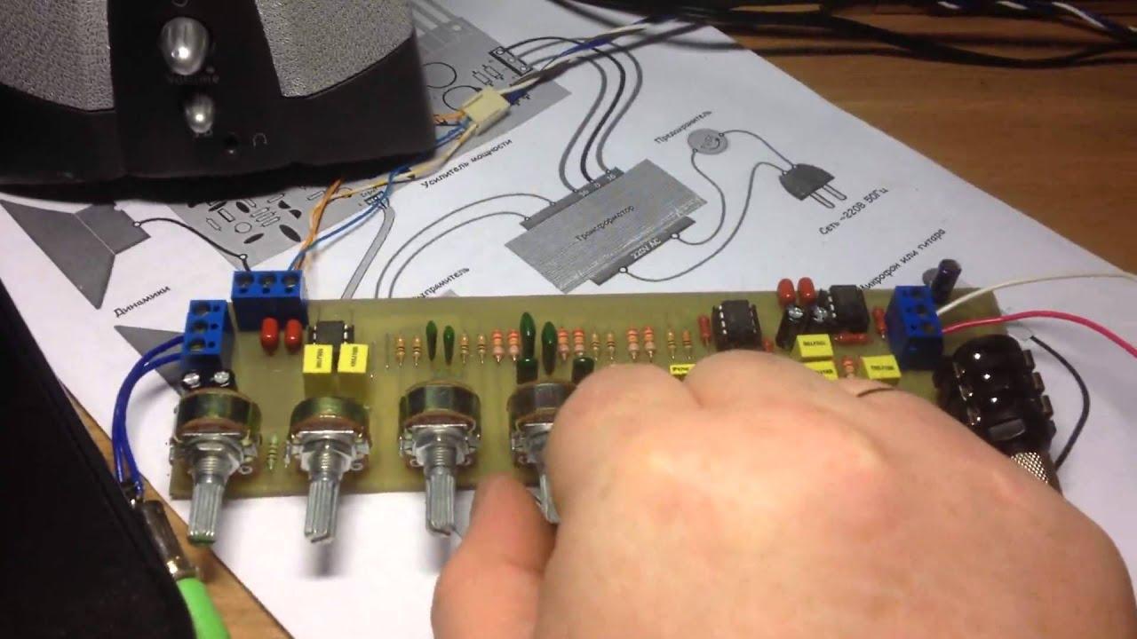 Стерео темброблок с микрофонным усилителем и линейным входом