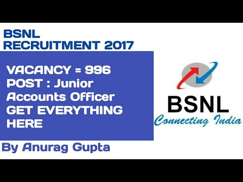 BSNL Recruitment 2017 – 996 Junior Accounts Officer Posts | Apply Online