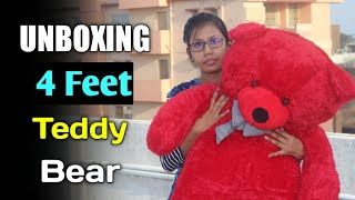 Unboxing 4 Feet Teddy Bear | Valentine Giant Teddy Bear Unboxing | Best Valentine Gift For Her