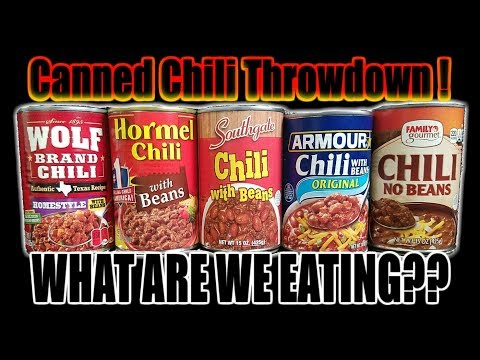 Canned Chili Throwdown!  Who Has The Best Chili? - WHAT ARE WE EATING?? - The Wolfe Pit