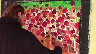 """Видеоурок создания картины маслом и мастихином:  """"Летние розы на заборе"""", 1 Часть. Художник Рыбаков."""