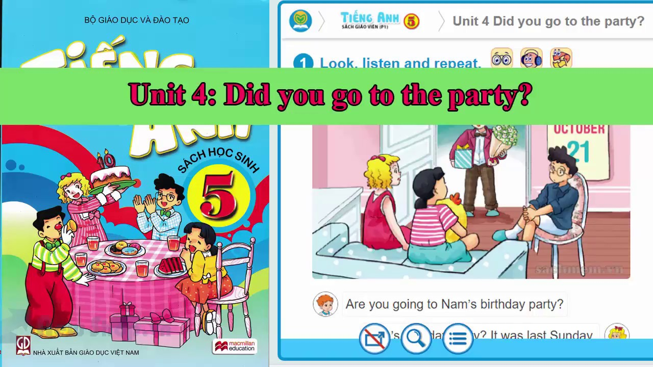 Tiếng Anh lớp 5 – Unit 4: Did you go to the party? ||Trọn bộ sách mềm 20 Unit