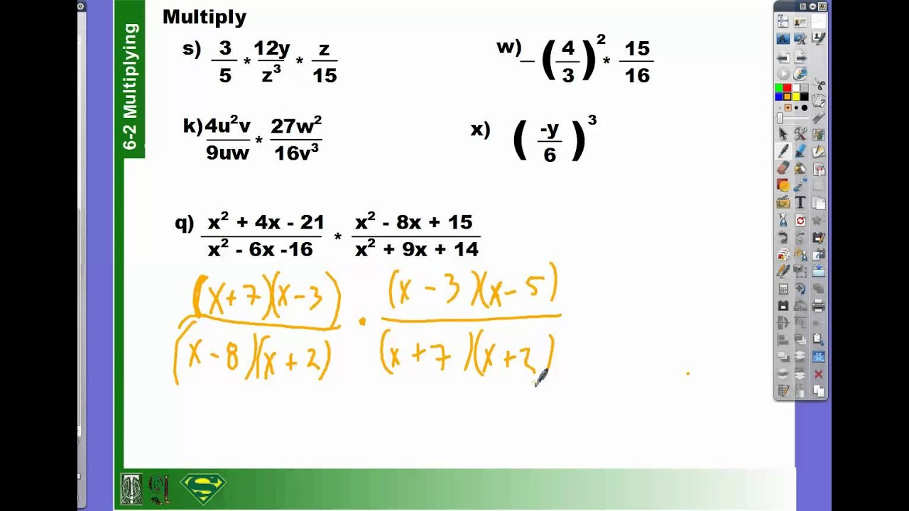 6-2 how to multiply polynomial fractions - YouTube