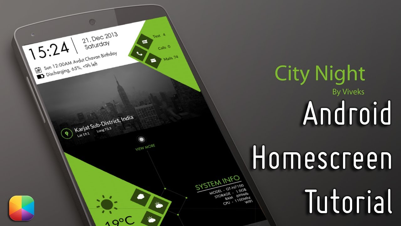 City Night (by VivekS) - Android Homescreen Tutorial - YouTube