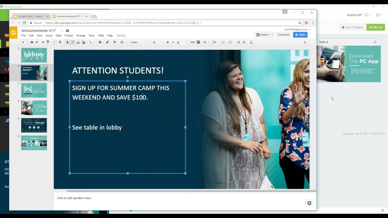 Google Slides in Worship Extreme