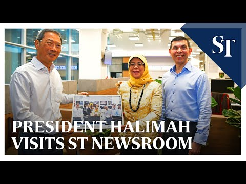 President Halimah visits revamped Straits Times newsroom