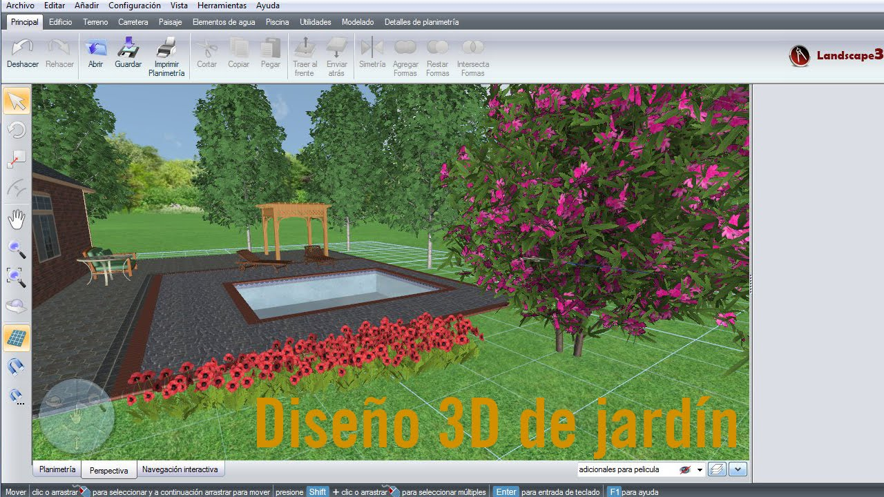 dise o 3d de jard n y vivienda unifamiliar con landscape3design youtube. Black Bedroom Furniture Sets. Home Design Ideas