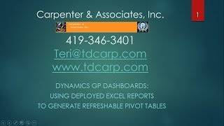 Executive Dashboard with Refreshable Pivot Tables using Dynamics GP
