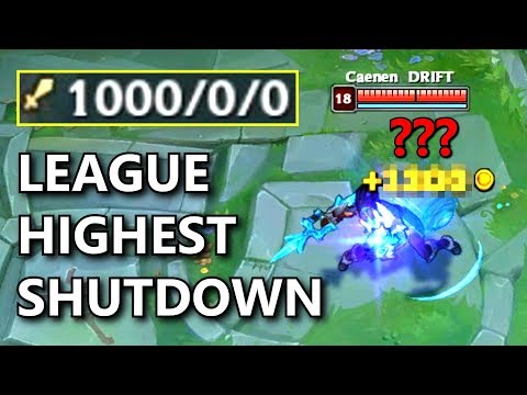 What is the SHUTDOWN FOR 1000 KILLS ENEMY? League of Legends Experiment!