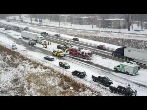 News: Minnesota snow storm results in pile-up in Twin Cities on I-694 [Aerial Footage]