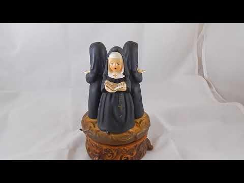 Ebay Demo Vintage APCO Japan Ceramic Music Box 3 Catholic Nuns Dominique Sankyo Movement