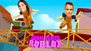 ROBLOX Little Leah Plays - ESCAPE THE CONSTRUCTION YARD OBBY w/ MY REAL LIFE BABY BROTHER!!