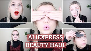 Aliexpress Makeup/Beauty Haul & review | Nothing over $3! SHOOK