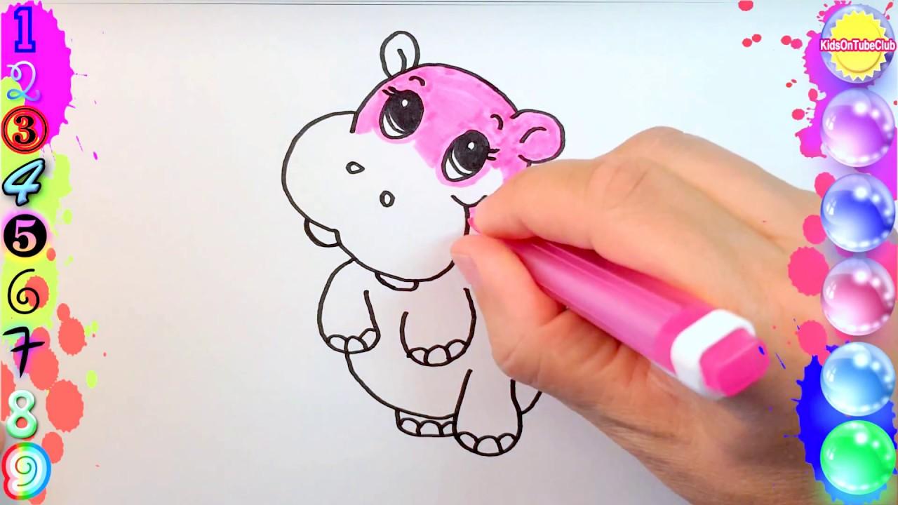 Pintar Y Colorear Hipopótamo Rosa Para Niños Paint And Color Pink Hippo For Kids