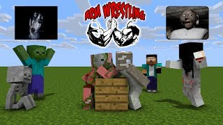 GRANNY VS ARM WRESTLING GAME | MONSTER SCHOOL | MINECRAFT ANIMATIONS