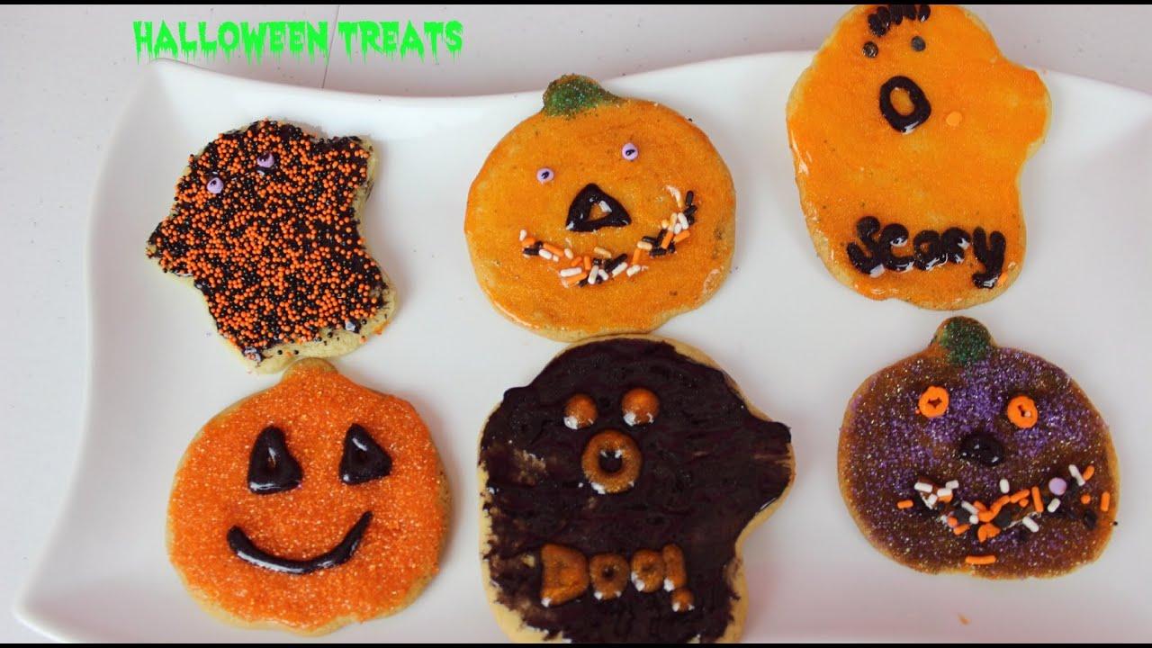 pumpkin ghosts halloween cookies easy halloween treats ideasb2cutecupcakes youtube - Easy Halloween Cookie Ideas
