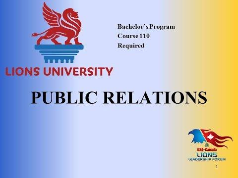 Lions University Course 110: Public Relations