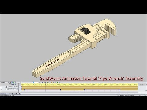 SolidWorks Animation Tutorial--'Pipe Wrench' (with caption and audio narration)