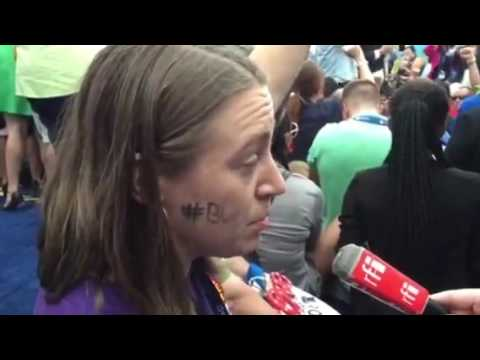 Bernie Sanders delegate from Texas Theresa Haas explains the walkout