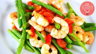 Green Bean & Prawn Salad Recipe - Салат с креветками и стручковой фасолью