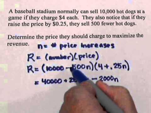 Hot Dog Problem -- Maximizing Revenue (college algebra)
