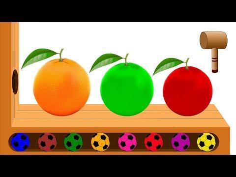Learn Colors Fruits Orange Finger Family - Colorful Orange Soccer Balls Wooden Hammer Toys For Kids