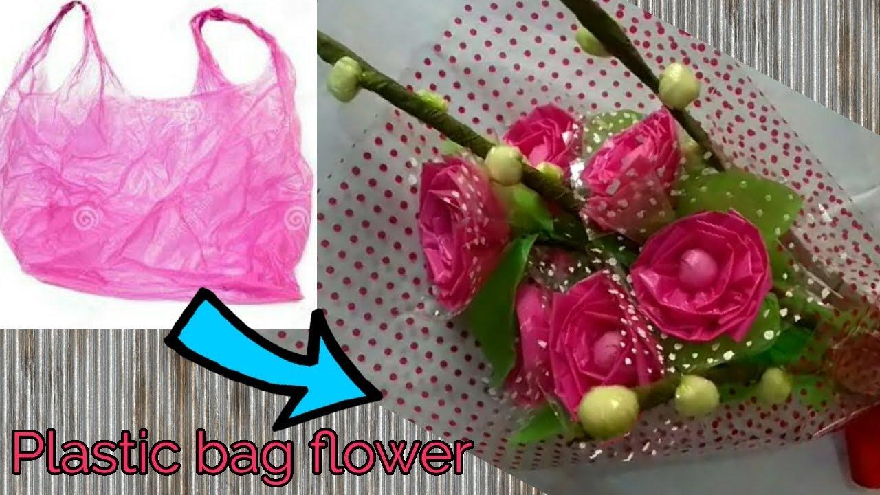 ポリ袋で作るお花の作り方!レジ袋リメイク工作
