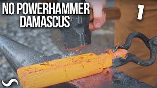 MAKING A DAMASCUS BOWIE WITH A HAND HAMMER!!! Part 1