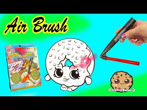 Air Brush Markerz Blow Pen Art Kit Set Shopkins D'lish Donut Coloring - Cookieswirlc Video