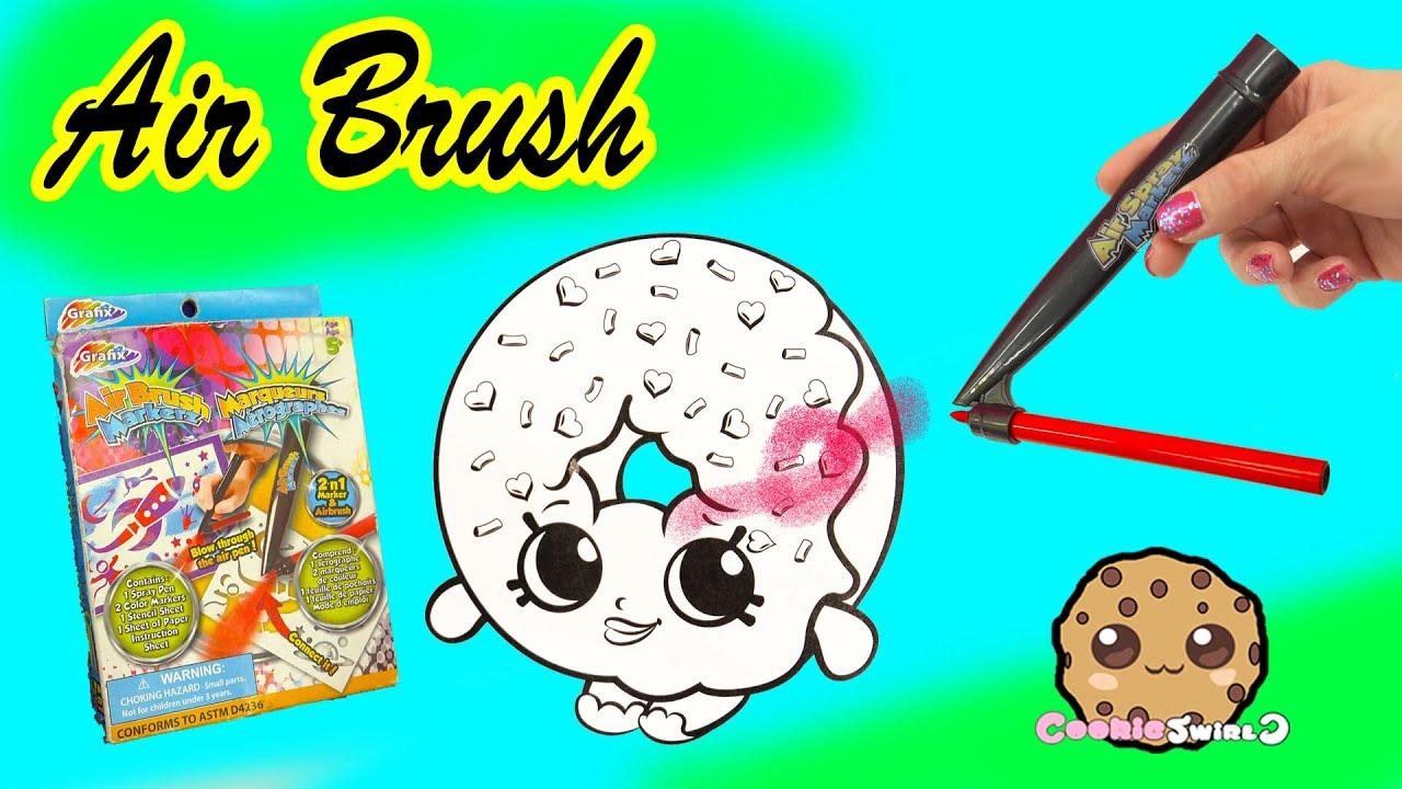 Air Brush Markerz Blow Pen Art Kit Set Shopkins Dlish Donut Coloring