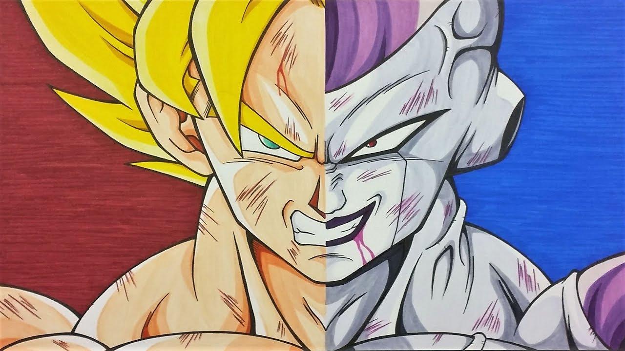 Goku Ssj4 Vs Goku Ssj3: Drawing Goku SSj Vs Frieza Full Power
